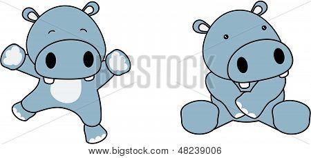 hippo cute baby jump cartoon vector set