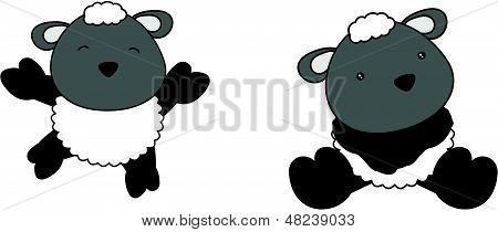 sheep cute baby jump cartoon vector set