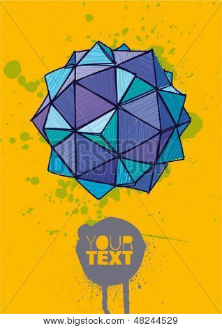 blue polyhedron with hand drawn hatching on yellow background