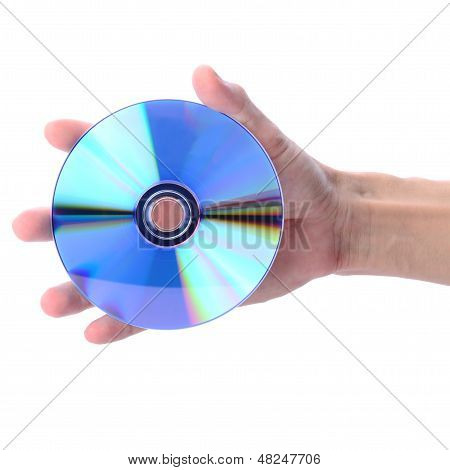 Man's Hand Holding Cd Or Dvd