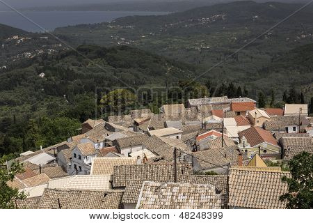 The mountain village of Gianades on Corfu island, Greece