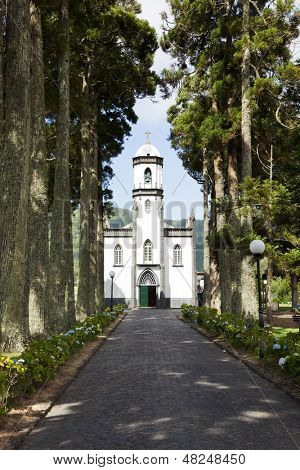 Small church at the village of Sete Cidades on the island of Sao Miguel, Azores