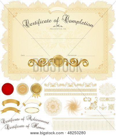 Certificate / Diploma template with guilloche pattern, border