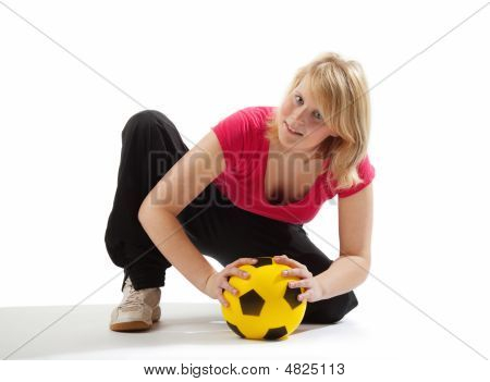 Sportive Girl With Yellow Ball