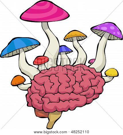 Brain With Mushrooms