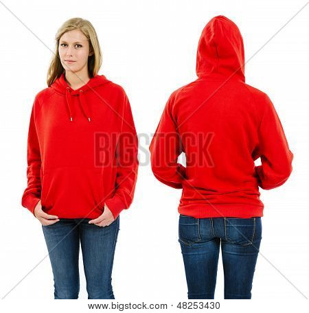 Female Wearing Blank Red Hoodie