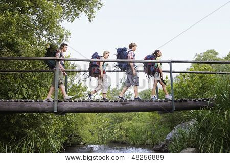 Teenage boys and girls with backpacks walking on bridge in forest