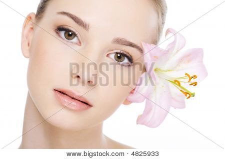 Beautiful Female Face With Health Complexion