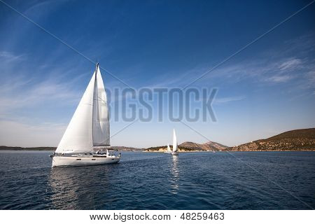 Sailing yacht race - picture with space for text or logos.