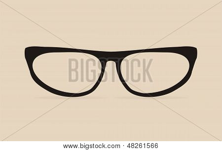 Black cat eyes vector glasses with thick holder - retro illustration isolated on beige background
