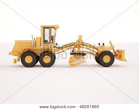 Modern three-axle road grader on a light background