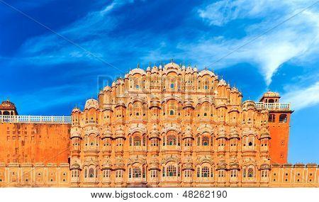 Hawa Mahal Palace in India, Rajasthan, Jaipur. Palace of Winds famous landmark