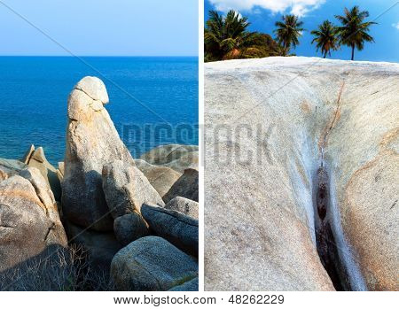 Hin Ta Hin Yai (grandpa and grandma) rock formations on Koh Samui, Thailand, Asia