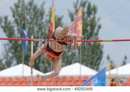 DONETSK, UKRAINE - JULY 11: Franziska Heiss of Germany competes in pole vault during 8th IAAF World Youth Championships in Donetsk, Ukraine on July 11, 2013