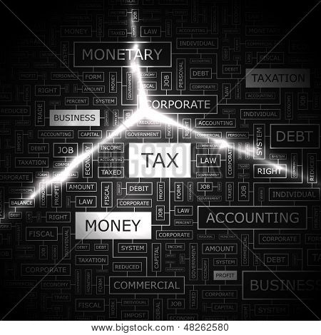 TAX. Word cloud illustration. Graphic tag collection. Vector concept collage.