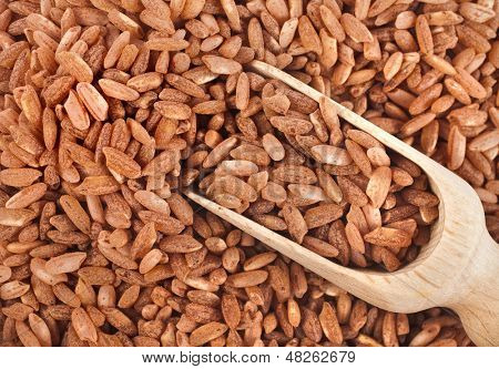Brown Rice Heap  in wooden scoop bowl Surface Close up Macro