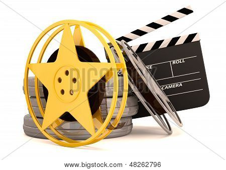 Movie Film Reels And Cinema Clapper. 3D Render