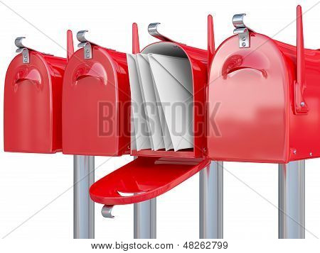 Mail Box With Envelope. 3D Render