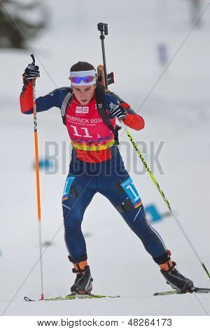 SEEFELD, AUSTRIA - JANUARY 19 Anna Kubek of team USA places 14th in the mixed biathlon relay event on January 19, 2012 in Seefeld, Austria.