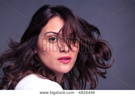 Attractive Woman Flicking Her Hair