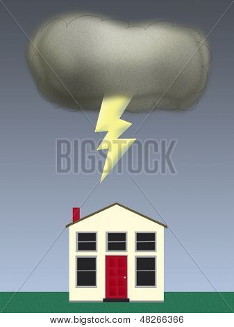 Illustration Of A Dark Cloud Over A House Signifying Bad Luck