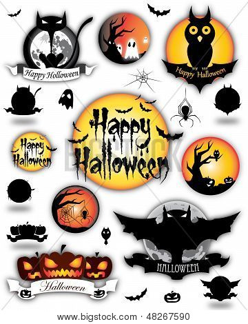 Diferentes elementos de Halloween