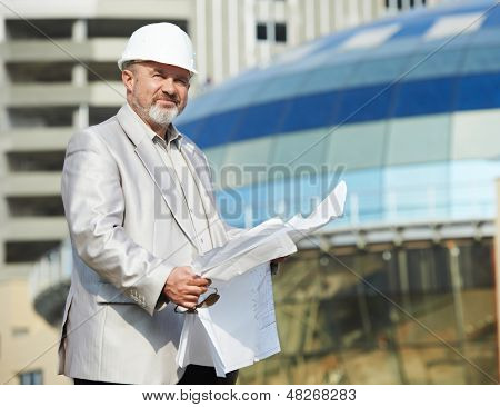 One adult construction site manager boss worker at building area