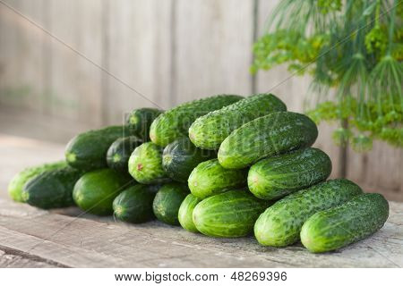 Cucumbers On Wooden Board