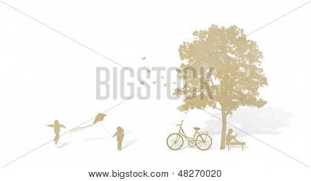 Paper cut of children play  on white back ground