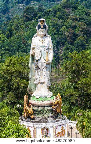 the monastery Wat Bang Riang, Province of Phang Nga. Statue of the Goddess of Mercy Guanyin