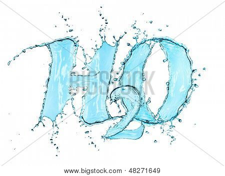 H2O Splash Water Formula isolated on a white background