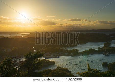 Landscape sunset from Otakamori in Matsushima, Japan.