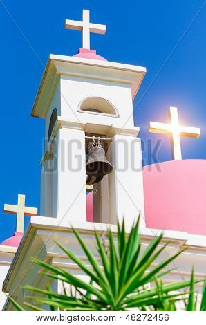 Sunshine Ray Reflection In Golden Crosses On Pink Domes