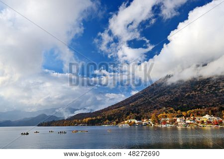 Mt. Nantai and Lake Chuzenji in Nikko, Japan.