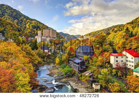 Hot springs resort town of Jozankei, Japan in the fall.