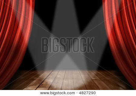 Red Theater Stage Background With 3 Spotlights Centered