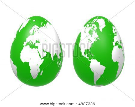 Two 3D Eggs World In Green