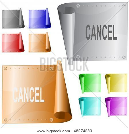 Cancel. Metal surface. Raster illustration. Vector version is in my portfolio.