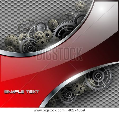 Abstract background metallic with gears, vector illustration.
