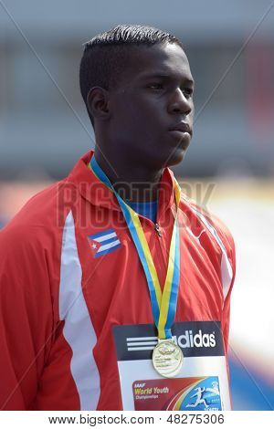 DONETSK, UKRAINE - JULY 14: World Yough Champion in triple jump Lazaro Martinez of Cuba on medal ceremony during 8th IAAF World Youth Championships in Donetsk, Ukraine on July 14, 2013