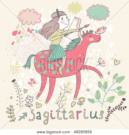 Cute zodiac sign - Sagittarius. Vector illustration. Little girl riding on pink horse and shooting arrows. Background with flowers and clouds. Doodle hand-drawn style