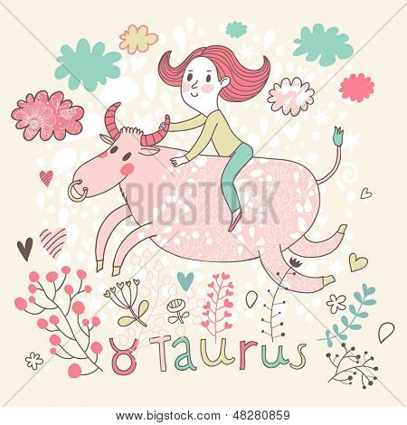 Cute zodiac sign - Taurus. Vector illustration. Little girl riding on the big pink calf with clouds and flowers. Doodle hand-drawn style