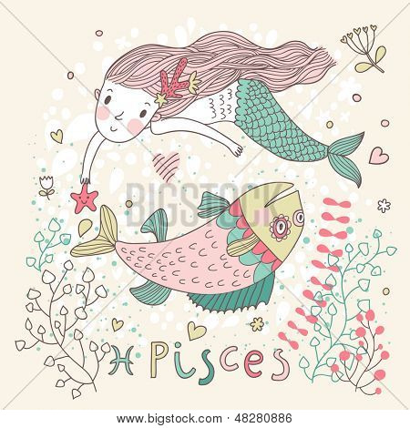 Cute zodiac sign - Pisces. Vector illustration. Little mermaid swimming with big fish with flowers and water plants. Doodle hand-drawn style