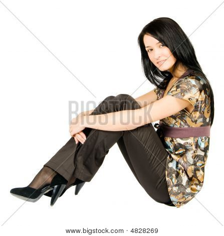 Siting Beatiful Young Woman Isolated On White Background