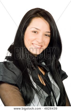 Close-up Portrait Of Beautiful Smiling Woman
