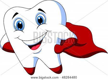 Cute cartoon superhero tooth posing