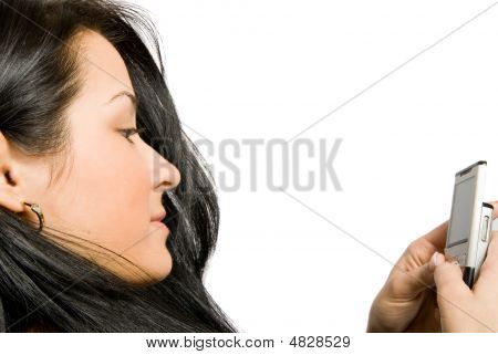 Close-up Portrait Of Young Woman With Mobile Phone