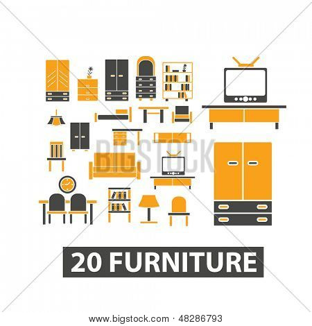 20 furniture icons, signs set, vector