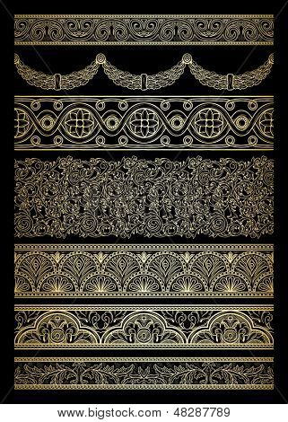 Set of golden borders in retro style on black background