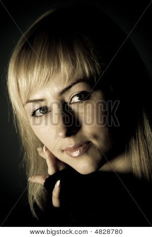 Closeup Studio Portrait Of Beautiful Woman
